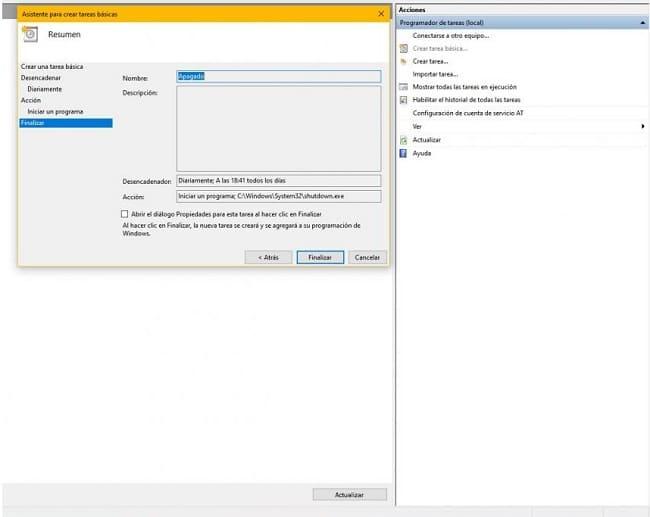programando o desligamento do pc windows 10